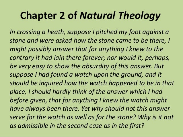 William paley natural theology summary